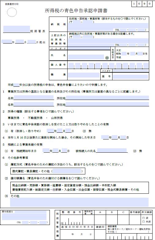 青色申告の承認申請〜事業を開始するときに必要な書類その2